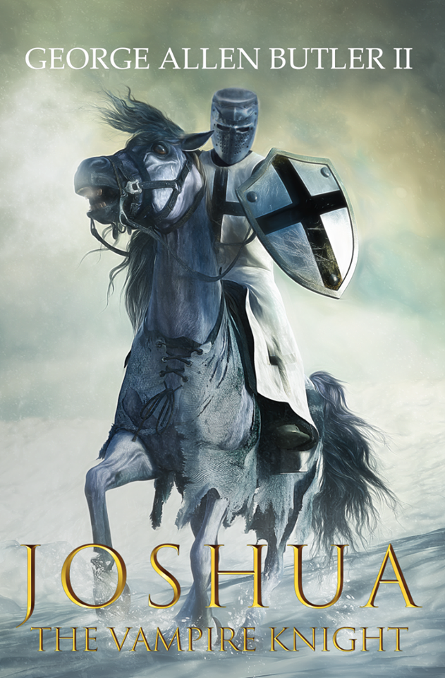 Book cover that reads Joshua, Vampire Knight and depicts a white knight on horseback in the snow with a black cross on his tabard and shield