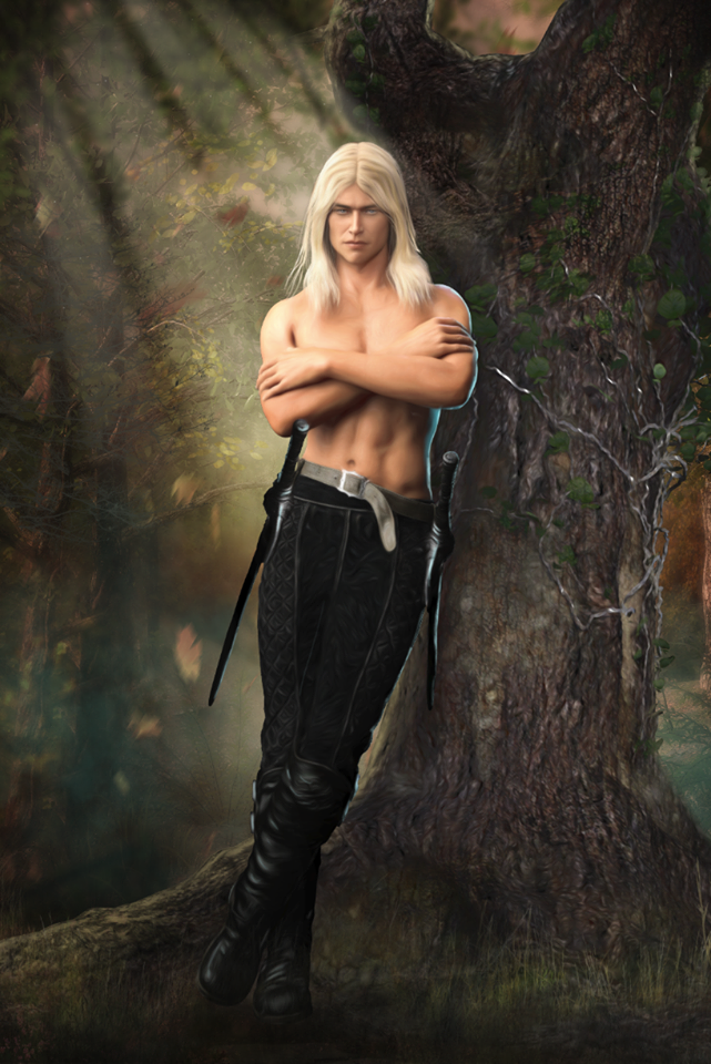 A shirtless Fox Elvensword leans against a tree while sunlight filters through the leaves around him