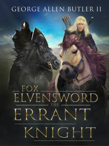 Book cover depicting Fox Elvensword and a dark clad knight on horseback