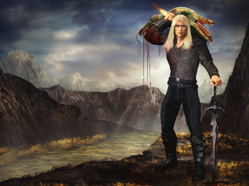 Fox Elvensword holding a dragon's head on his shoulder with mountains as a backdrop