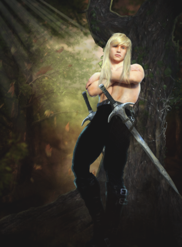 Portrait of a young Fox Elvensword, leaning against a tree while sunlight filters through the leaves around him